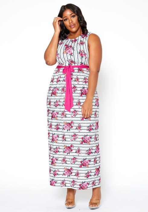 Asoph Plus Size Gardenia Striped Sleeveless Maxi Dress