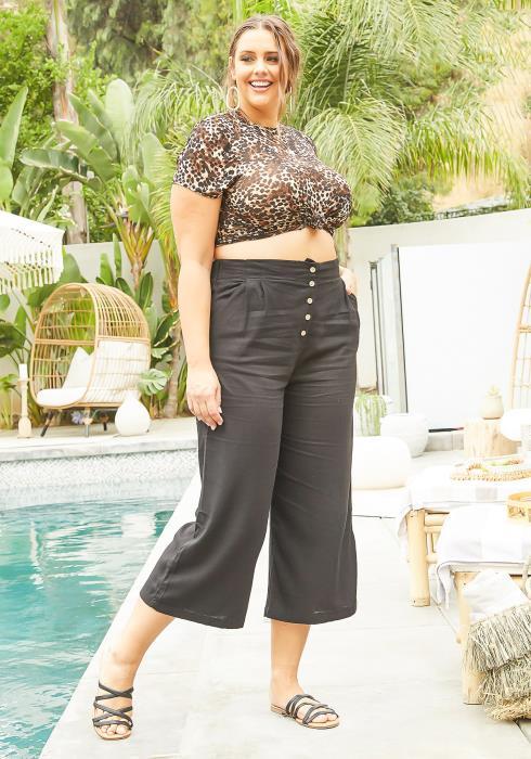 Asoph Plus Size High Rise Button Hem Capri Flare Pants
