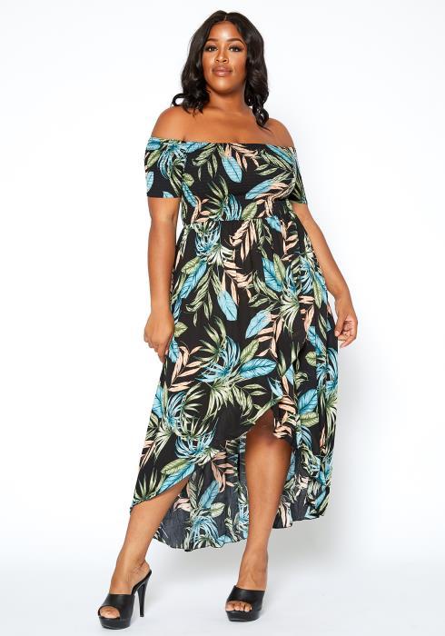 Asoph Plus Size Beach Getaway High Low Maxi Dress