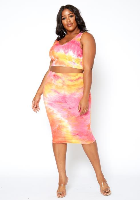 Asoph Plus Size Sunset Tie Dye Tank Top & Midi Skirt Set