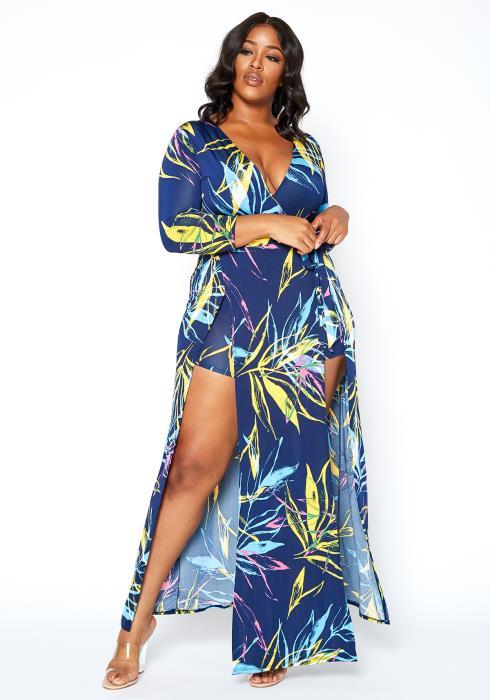 Asoph Plus Size Tropical Leaf Print Maxi Slit Hem Romper