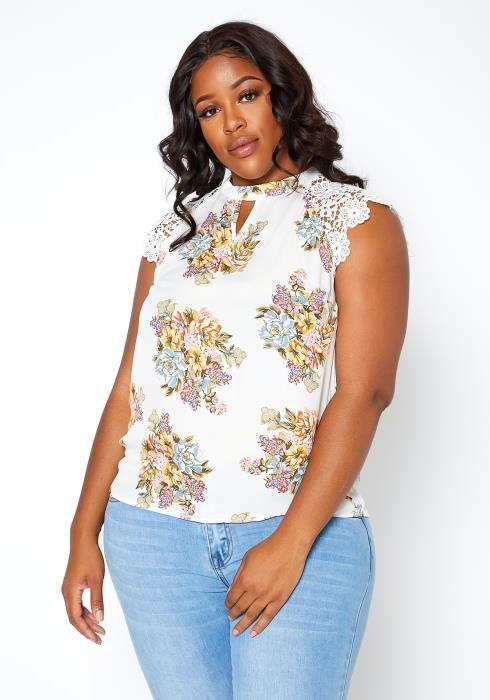 Asoph Plus Size Floral Bouquet Print Sleeveless Blouse