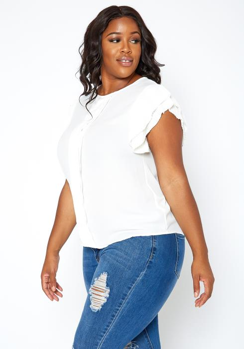 Asoph Plus Size Tier Pleated Shoulder Sleeveless Blouse