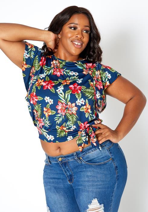 Asoph Plus Size Hibiscus Floral Print Tie Front Crop Top