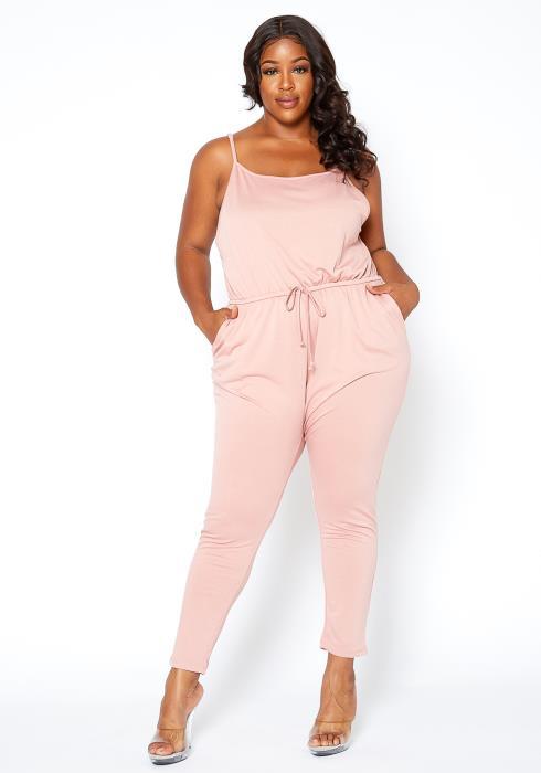 Asoph Plus Size Basic Drawstring Hem Cami Jumpsuit