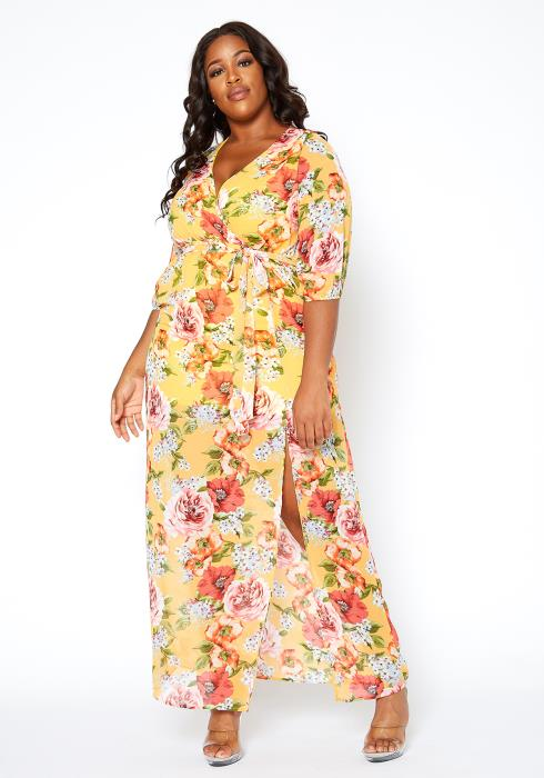 Asoph Plus Size Womens Sunny Floral Maxi Slit Dress
