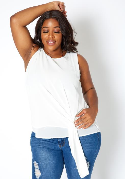 Asoph Plus Size Elegant Drape Ascent Sleeveless Blouse