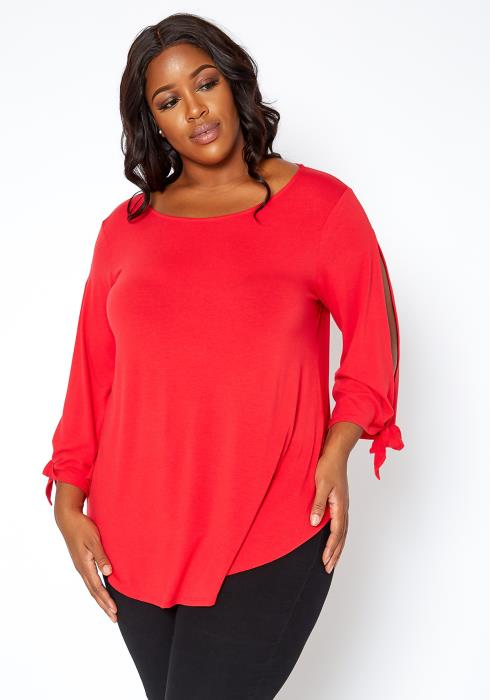 Asoph Plus Size Basic Boat Neck Long Sleeve Slit Blouse