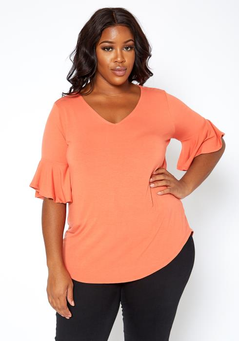 Asoph Plus Size Basic Flare Short Sleeve V Neck Blouse