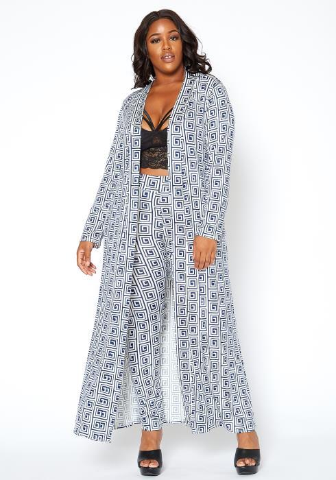 Asoph Plus Size Greek Key Print Leggings & Longline Cardigan Set