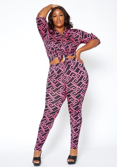 Asoph Plus Size Neon Pink Patterned Collar Top & Leggings Set