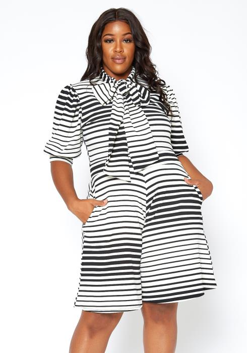 Asoph Plus Size Multi Striped Bow Collar Midi Romper