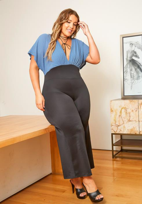 Asoph Plus Size Ribbed Knit Contrast Angel Sleeve Flare Jumpsuit