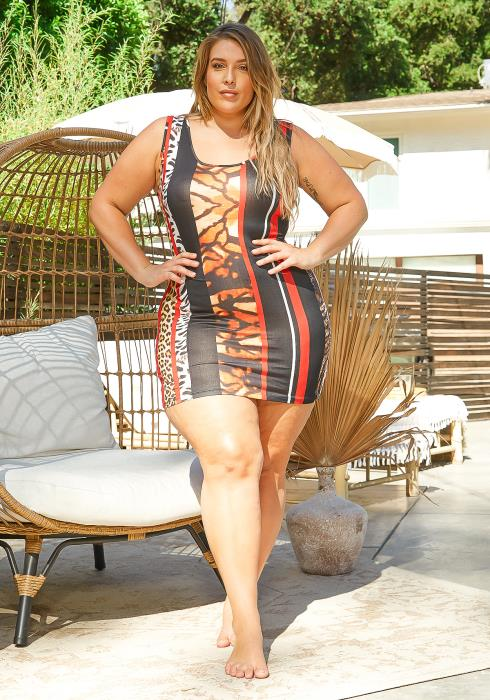Asoph Plus Size Animal Print Sleeveless Bodycon Mini Dress