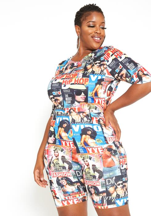 Asoph Plus Size Magazine Print Fitted Romper
