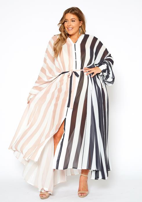 Asoph Plus Size Sheer Striped Maxi Dress