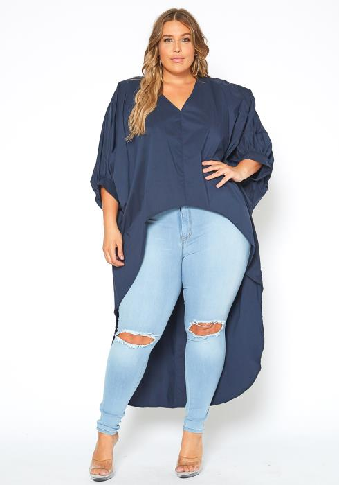 Asoph Plus Size High Low Batwing Sleeve Navy Top