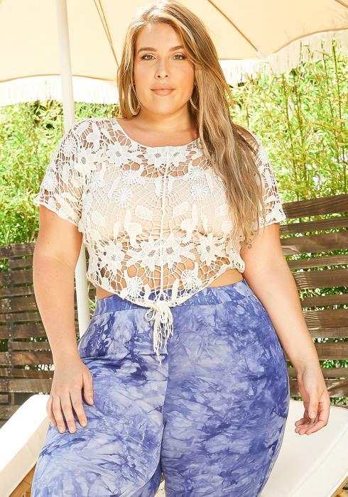 Asoph Plus Size Floral Crochet Cover Up Top