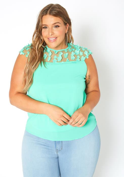 Asoph Plus Size 3D Floral Mesh Contrast Sleeveless Top
