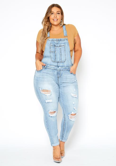 Asoph Plus Size Ripped Light Denim Overall