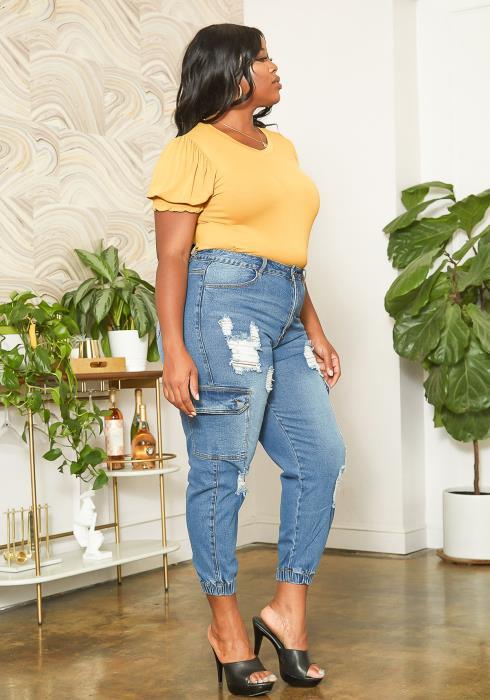 Asoph Plus Size Distressed Denim Cargo Mom Jeans