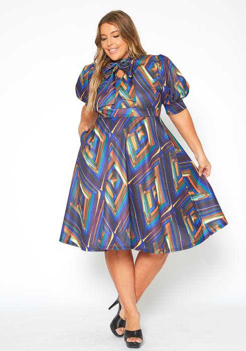 Asoph Plus Size Artistic Pattern Bow Collar Fit & Flare Midi Dress