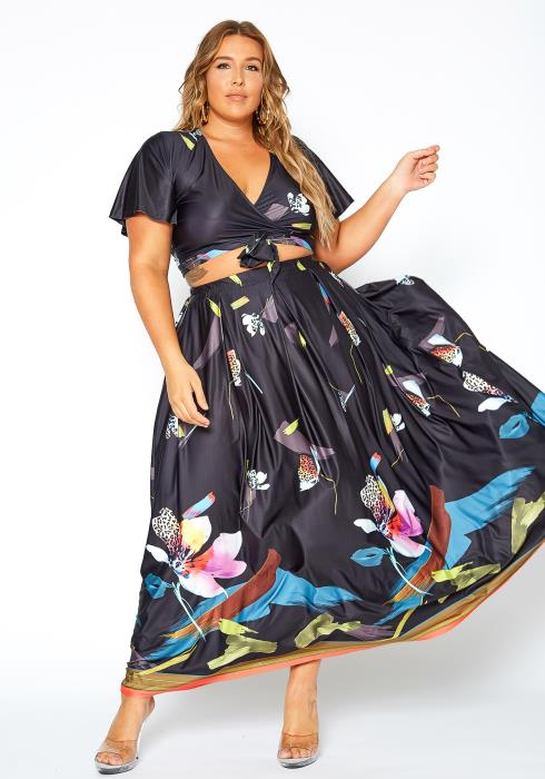 Asoph Plus Size Multi Print Two Piece Dress Set
