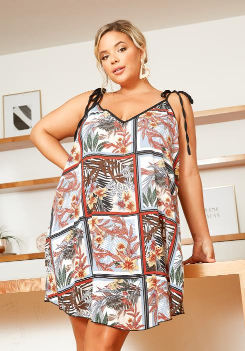 Asoph Plus Size Floral Collage Tunic Dress