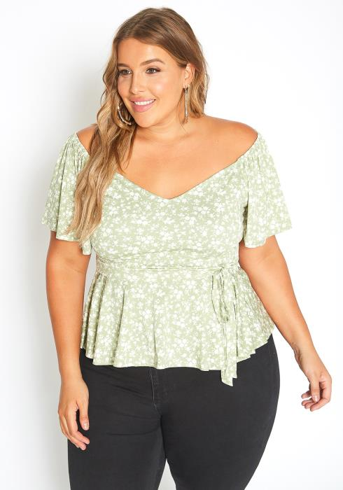 Asoph Plus Size Spring Floral Wide V Neck Peplum Top