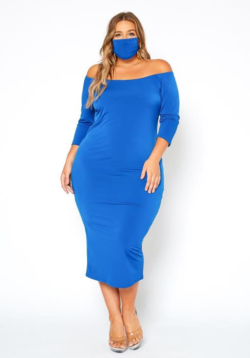 Asoph Plus Size Off Shoulder Bodycon Dress With Mask Set