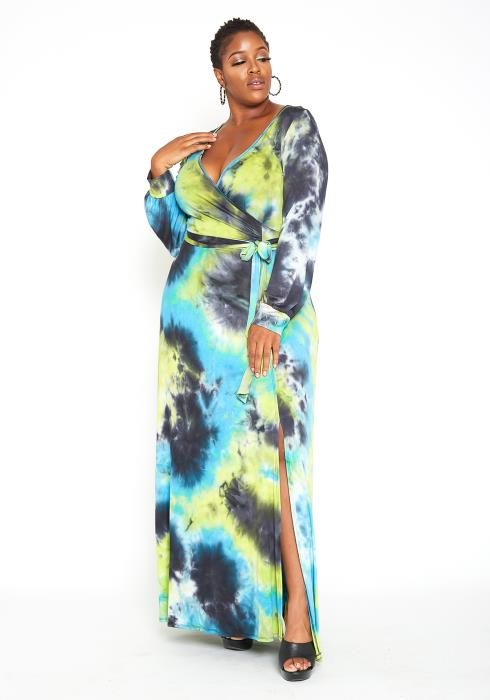 Asoph Plus Size Tie Dye High Slit Wrap Maxi Dress
