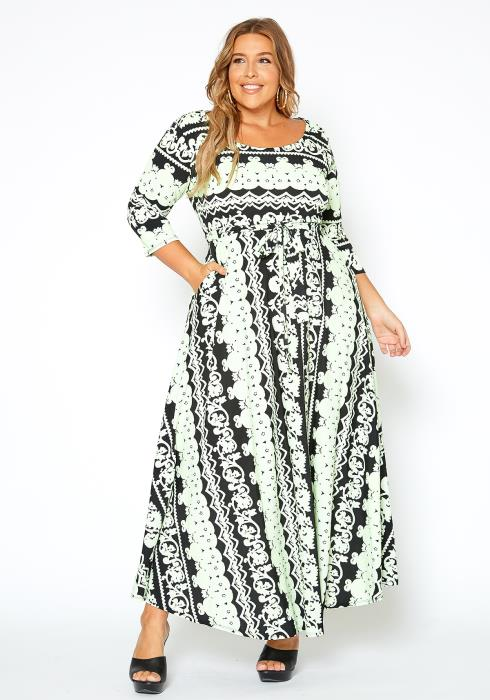 Asoph Plus Size Neon Green Multi Maxi Dress