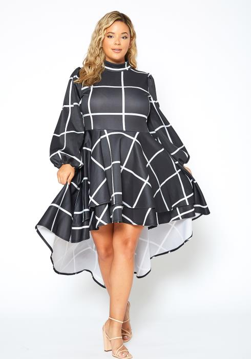 Asoph Plus Size Grid Print Hi Lo Party Dress