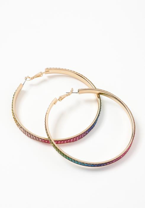 Milan Rainbow Crystal Hoop Earrings