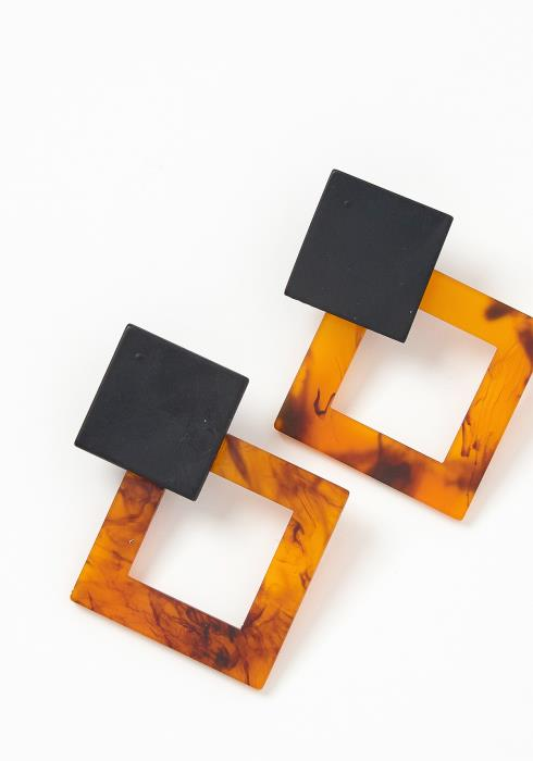 Genoa Squared Marble Stud Earrings