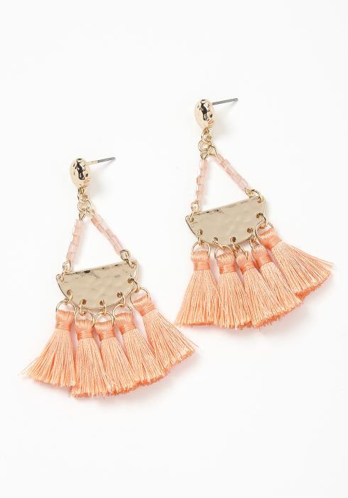 Marcella Coral Tassel Drop Earrings
