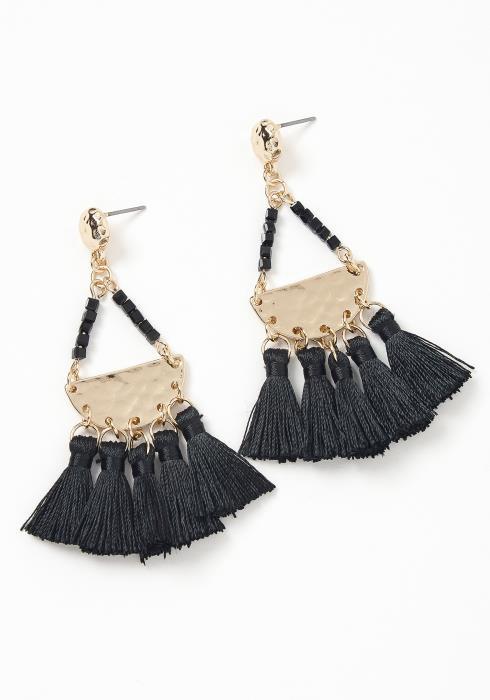 Marcella Black Tassel Drop Earrings