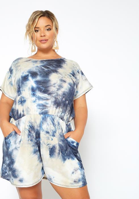 Asoph Plus Size Blue Sky Tie Dye Romper