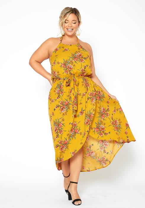 Asoph Plus Size Spring Floral Halter Neck Midi Dress