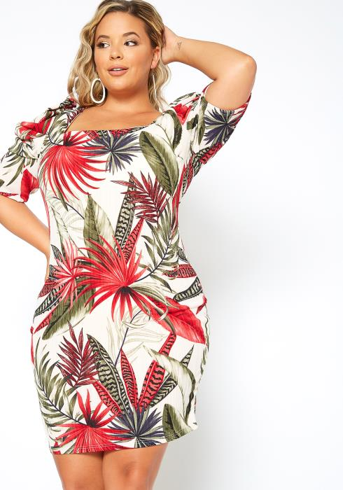 Asoph Plus Size Square Neck Tropical Print Mini Dress