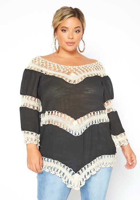 Asoph Plus Size Boho Crochet Contrast Flowy Blouse