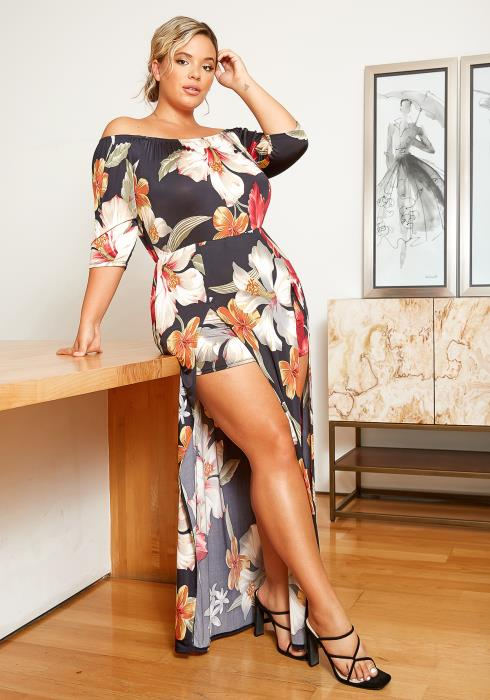 Asoph Plus Size Giant Flower Print Off Shoulder Maxi Slit Romper