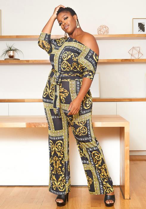 Asoph Plus Size One Shoulder Royal Print Jumpsuit