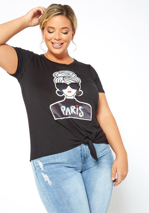 Asoph Plus Size Paris Fashion Girl Graphic Tee Shirt