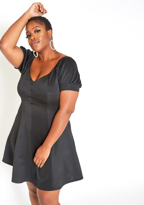 Asoph Plus Size Button Front Lovely Date Night Dress