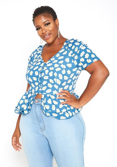 Asoph Plus Size Daisy Floral Split Ruffle Flare End Top