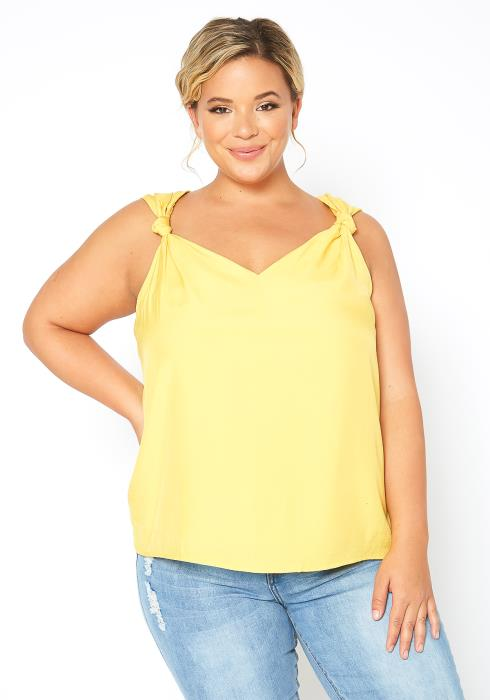 Asoph Plus Size Knotted Design Sleeveless Yellow Top