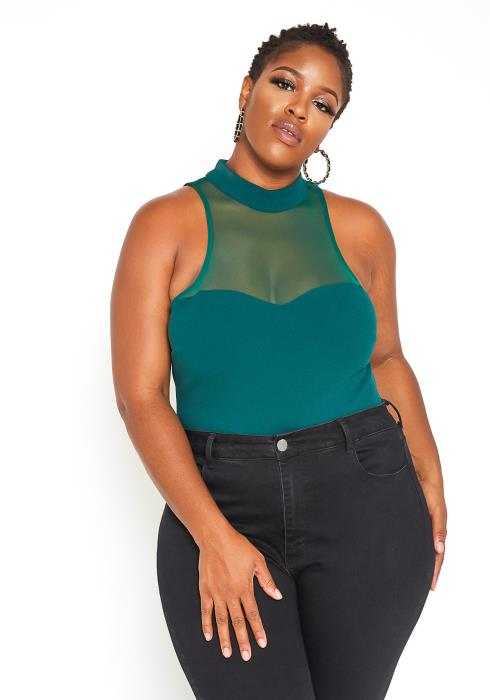 Asoph Plus Size Hunter Green Mesh Contrast Sleeveless Bodysuit