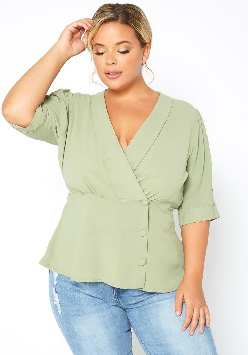 Asoph Plus Size Button Wrap Sage Green Top