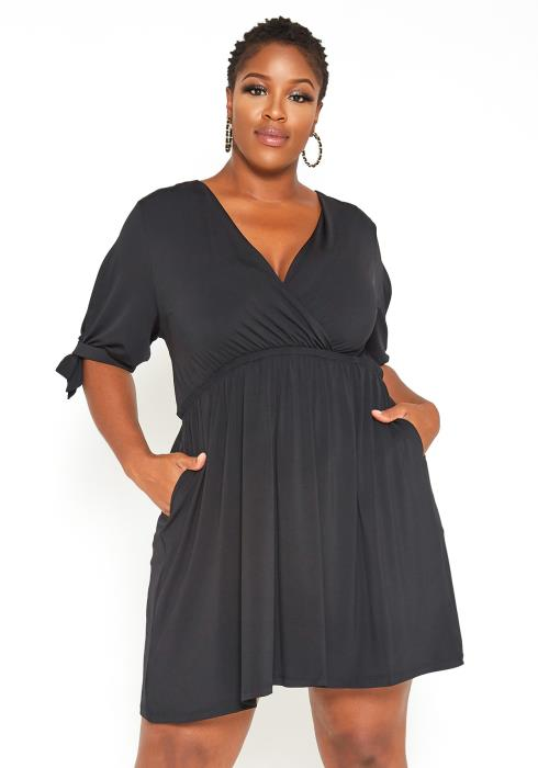 Asoph Plus Size Cute Black Mini Casual Dress